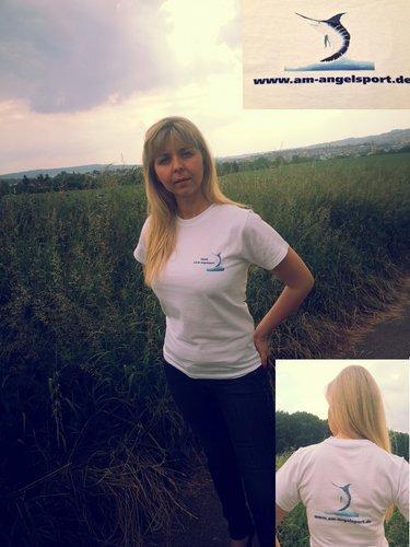 A&M Angelsport T-Shirt weiß mit zwei Logos Gr.XL