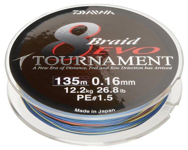 Daiwa Tournament 8 Braid EVO 0.16mm 12,2kg 150m mc Geflochtene Schnur