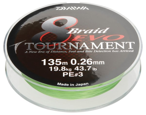 Daiwa Tournament 8 Braid EVO 0.18mm 15,8kg 135m ch Geflochtene Schnur