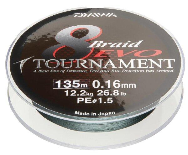 Daiwa Tournament 8 Braid EVO 0.16mm 12,2kg 135m dg Geflochtene Schnur