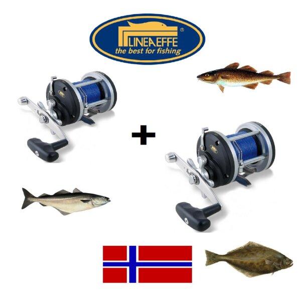 Multirollenset 2x Multirolle mit geflochtener Schnur Pilken Naturköderfischen Norwegen