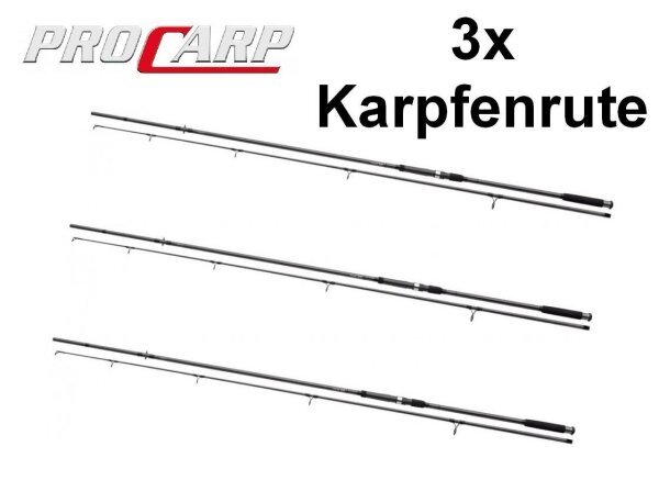 3x Pro Carp Karpfenrute Set 12ft 3,60m 3,00lb Dreierpack Carp Rod