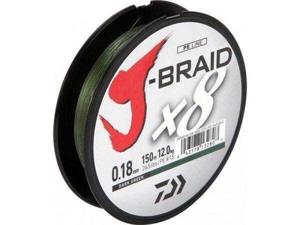 Daiwa J-Braid X8 0,13mm 8,5Kg 150m dunkelgrün