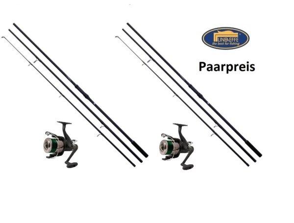 2x Lineaeffe Karpfenset Karpfenrute + Freilaufrolle + Karpfenschnur 3-teilig / 3,00lbs
