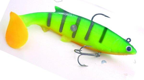 Storm Knockr Minnow 07 GRT Green Tiger 18cm 67g Gummifisch