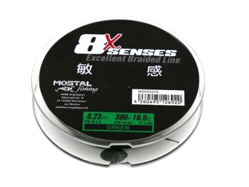 Mostal 8x Senses 1500m Green 0,23mm / 16,9kg Geflochtene Schnur