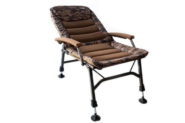 Mostal Camou Stuhl Big mit gepolsterten Armlehnen Angelstuhl bis 120kg Anglerstuhl